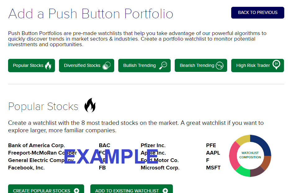 push button portfolio